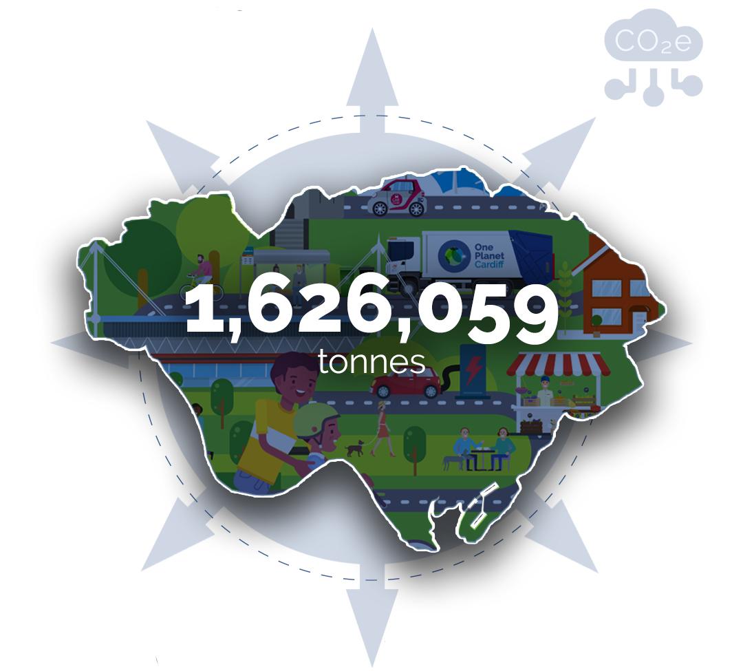 map showing 1,626,059 tonnes C02